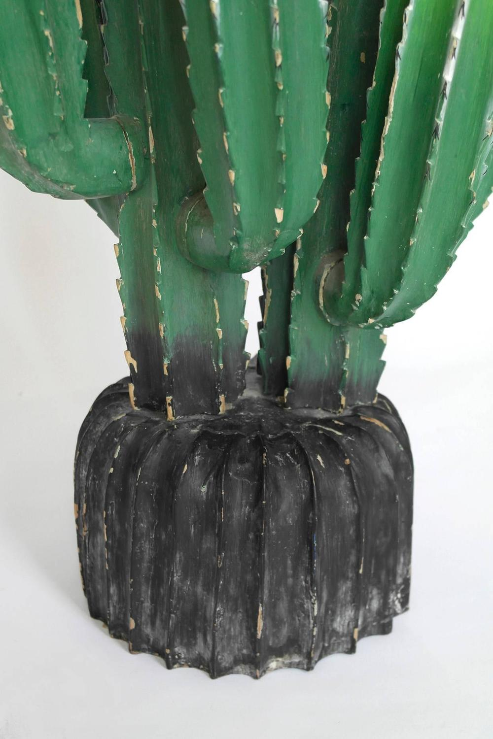 Huge Carved Cacti Painted Cactus Sculpture Set Rare And