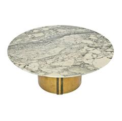 Mid-Century Polished Marble and Bronze Brass Low Coffee Table