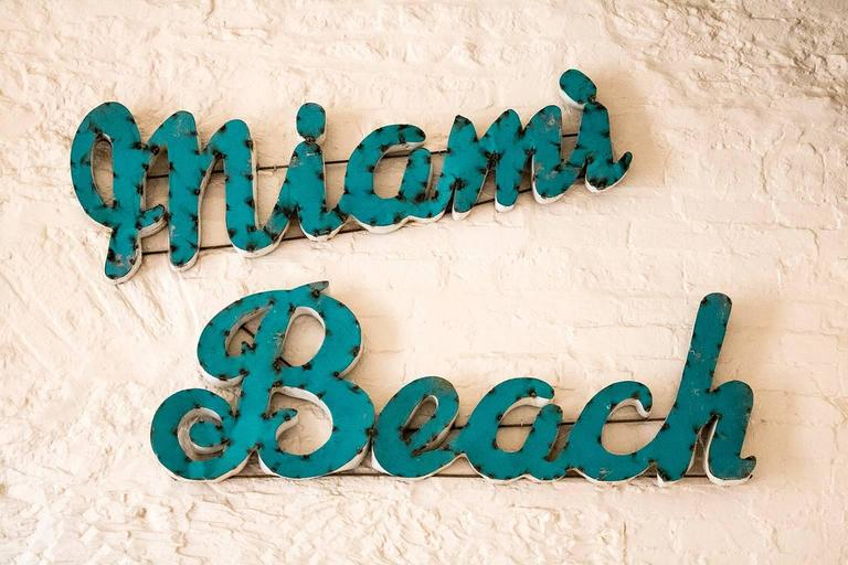 Amazing Vintage Huge Mid Century Miami Beach Metal Sign Dimensions