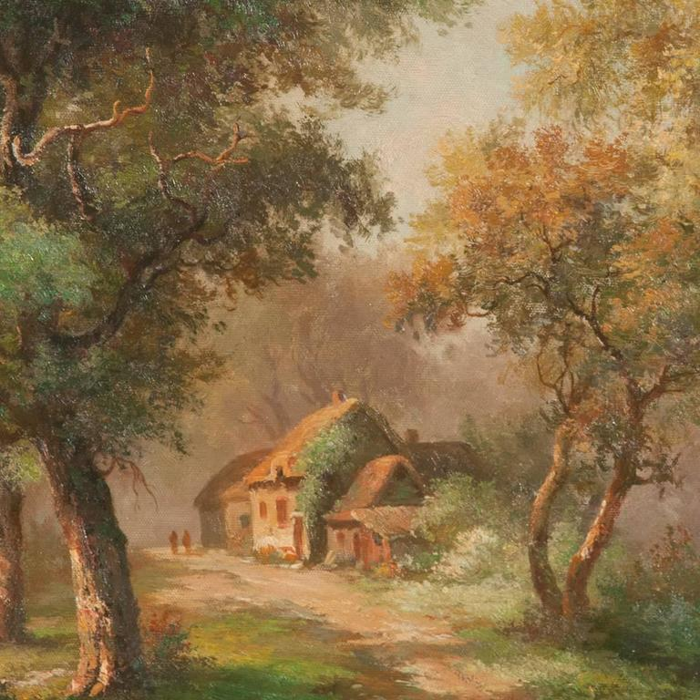 Countryside Cottage Oil on Canvas Scene In Good Condition For Sale In Lawrenceburg, TN
