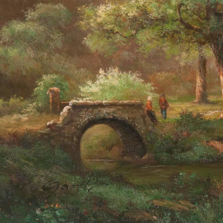 Late 20th Century Countryside Cottage Oil on Canvas Scene For Sale