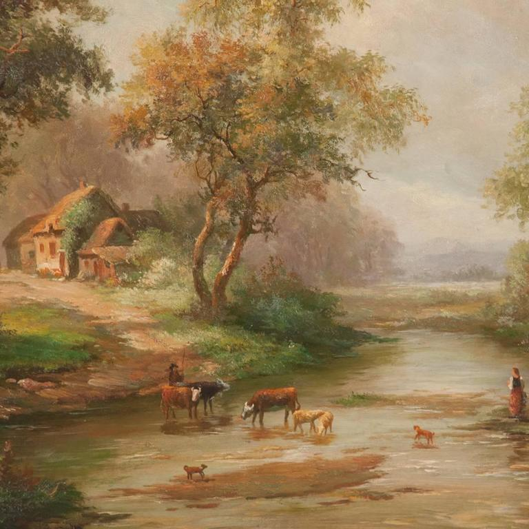 Countryside Cottage Oil on Canvas Scene For Sale 1