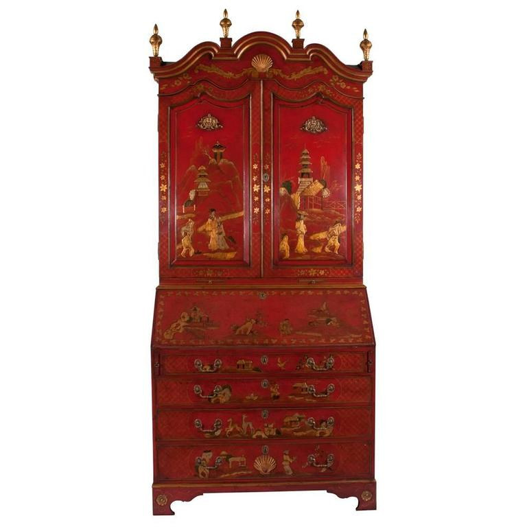 Queen Anne Chinoiserie Secretary In Good Condition For Sale In Lawrenceburg, TN