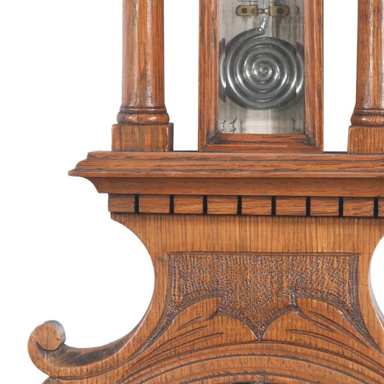 Early 20th Century English Oak Barometer For Sale