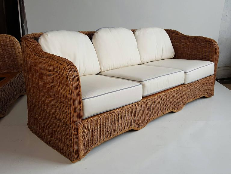 Modernist Six Piece Wicker And Bamboo Suite By Ficks Reed
