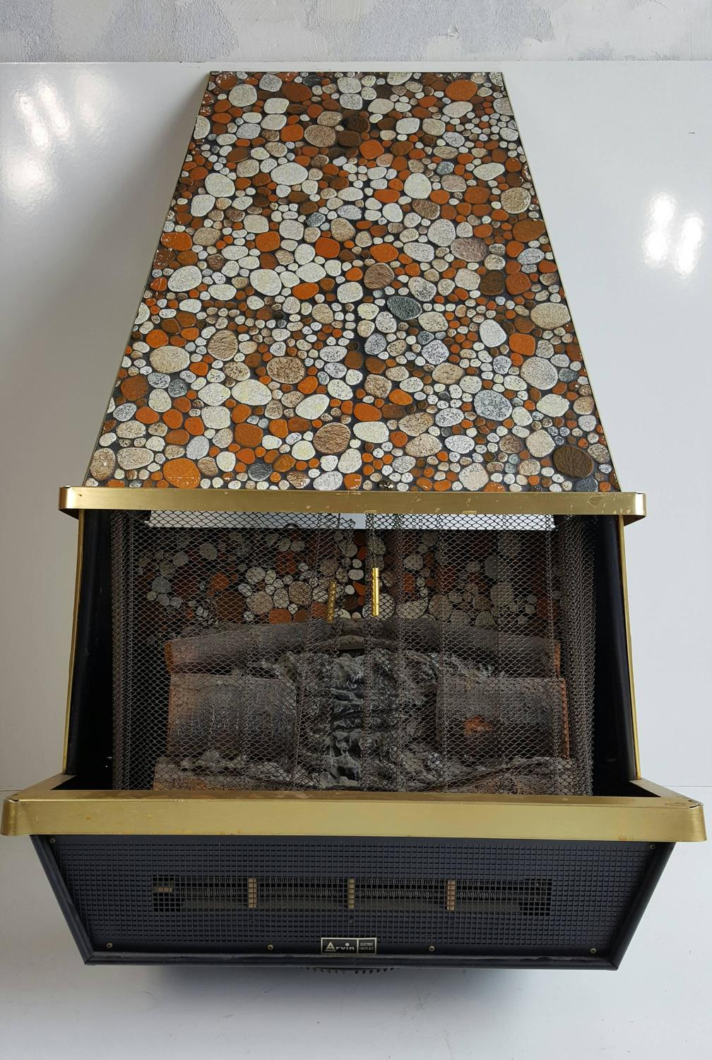 Unusual Mosaic Stone Electric Wall Hung Fireplace Arvin
