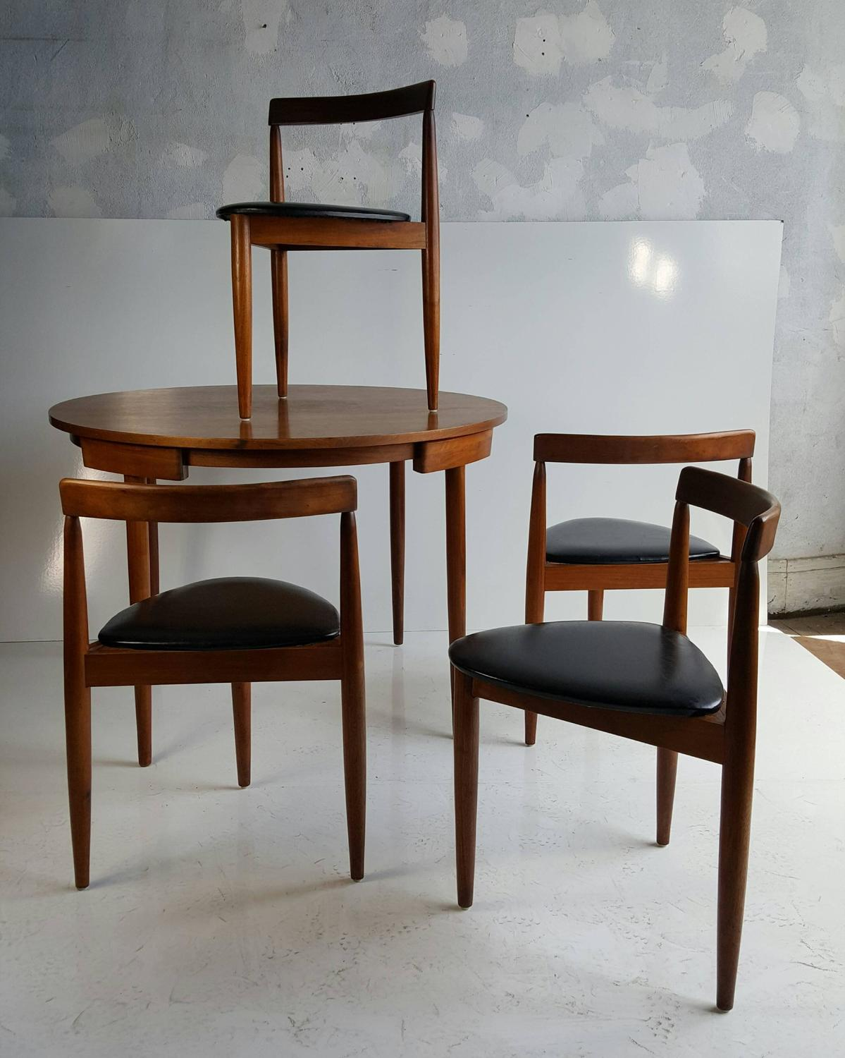 mid century modern dining table four chairs hans olsen