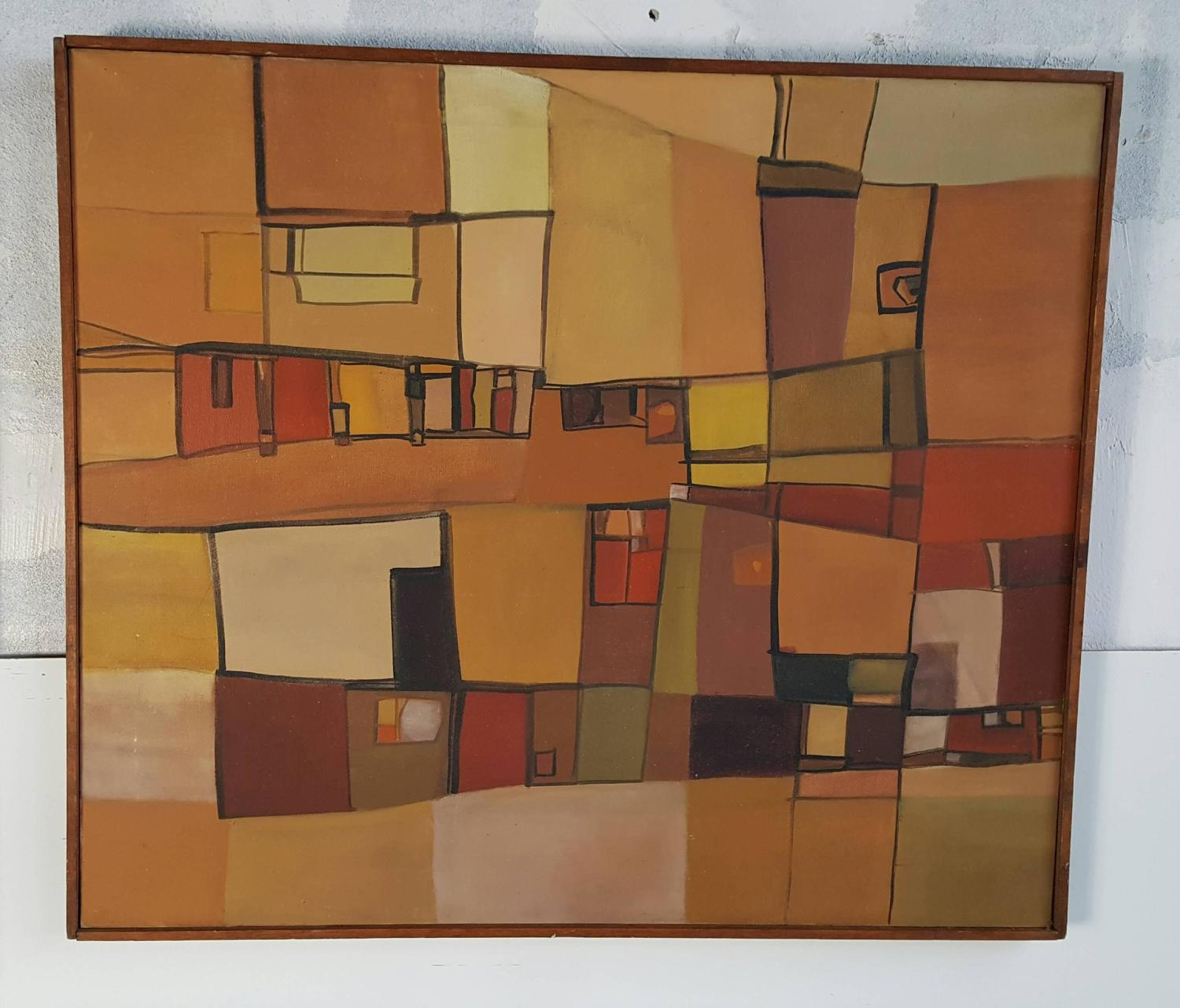 Mid Century Modern Abstract Constructivism Oil Paintings