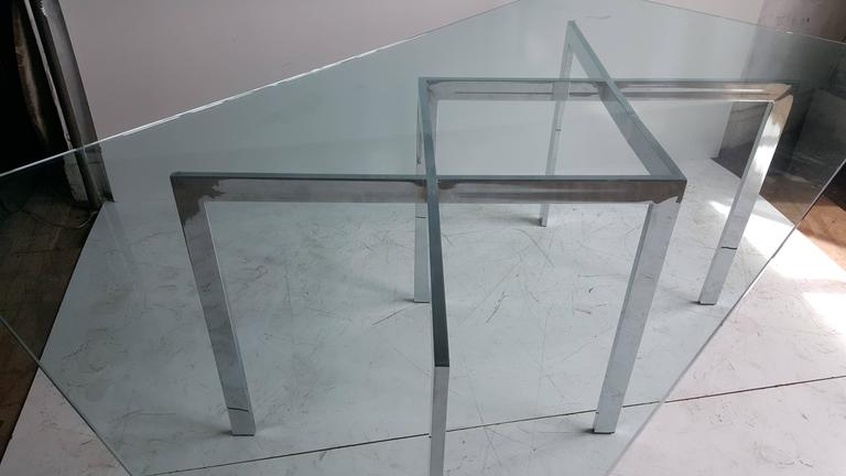 Mid-Century Modern Milo Baughman, Thayer Coggin Chrome X Base and Glass Dining Table For Sale