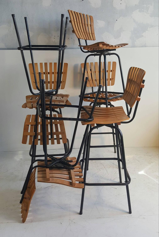 Classic Modernist Slat Wood Swivel Bar Stools Designed By