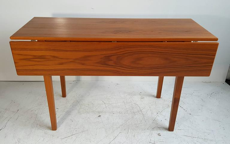 Scandinavian Modern Handsome Teak Drop-Leaf Dining or Breakfast Table, ABJ Made in Denmark