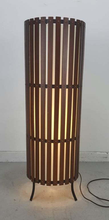 Mid-Century Modern Contemporary  Modernist Walnut Slat Wood Cylinder Floor Lamp For Sale