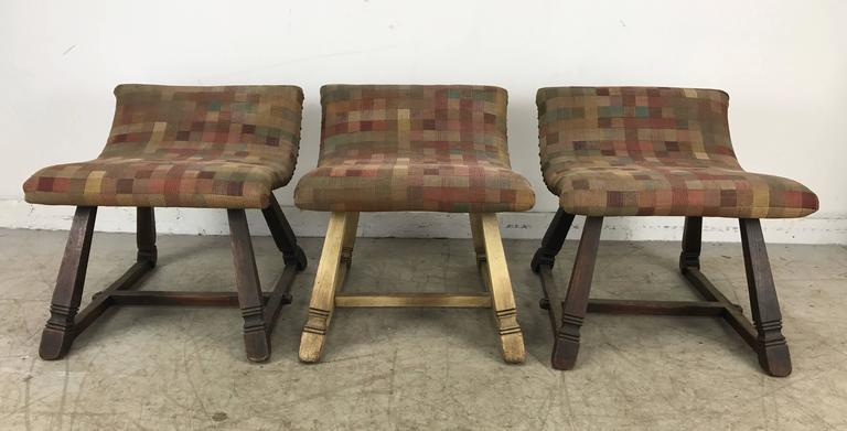 Unusual Set of Three Oak and Fabric Parlor Fireside Stools/Benches, Romweber 2