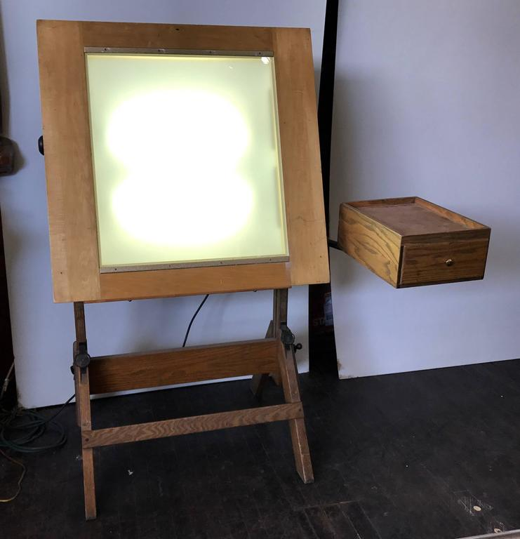 Rare Hamilton Lightbox Drafting Table And Drawer Cast Iron