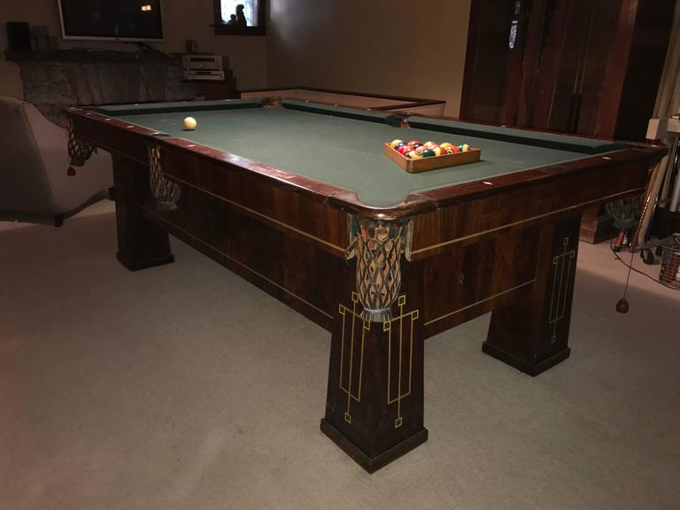 Rare Brunswick Balke Collender Arts And Crafts Pool Table - Brunswick 9 foot pool table