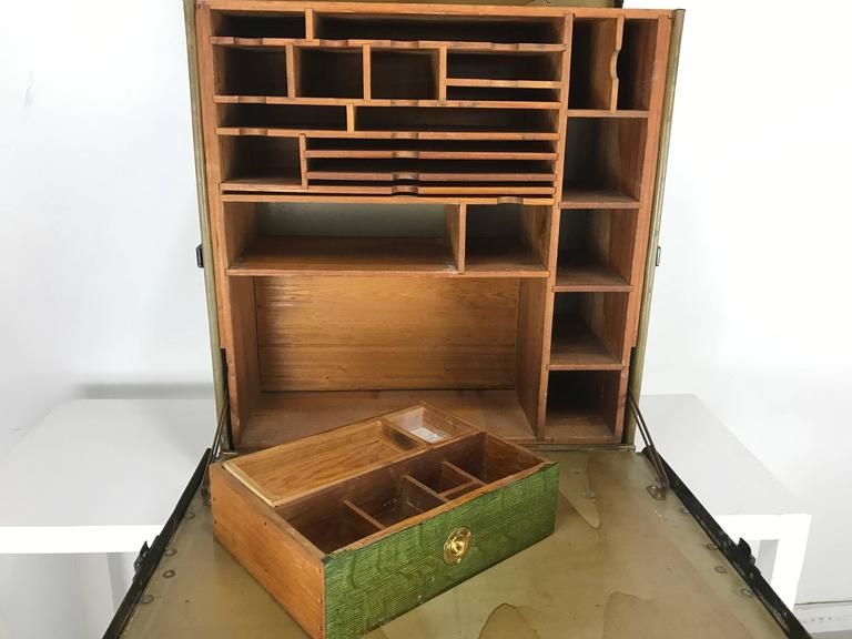 Industrial Unusual Portable Ww1 Field Desk Suitcase, Multi-Slots /Drawer by Rogers Madison For Sale