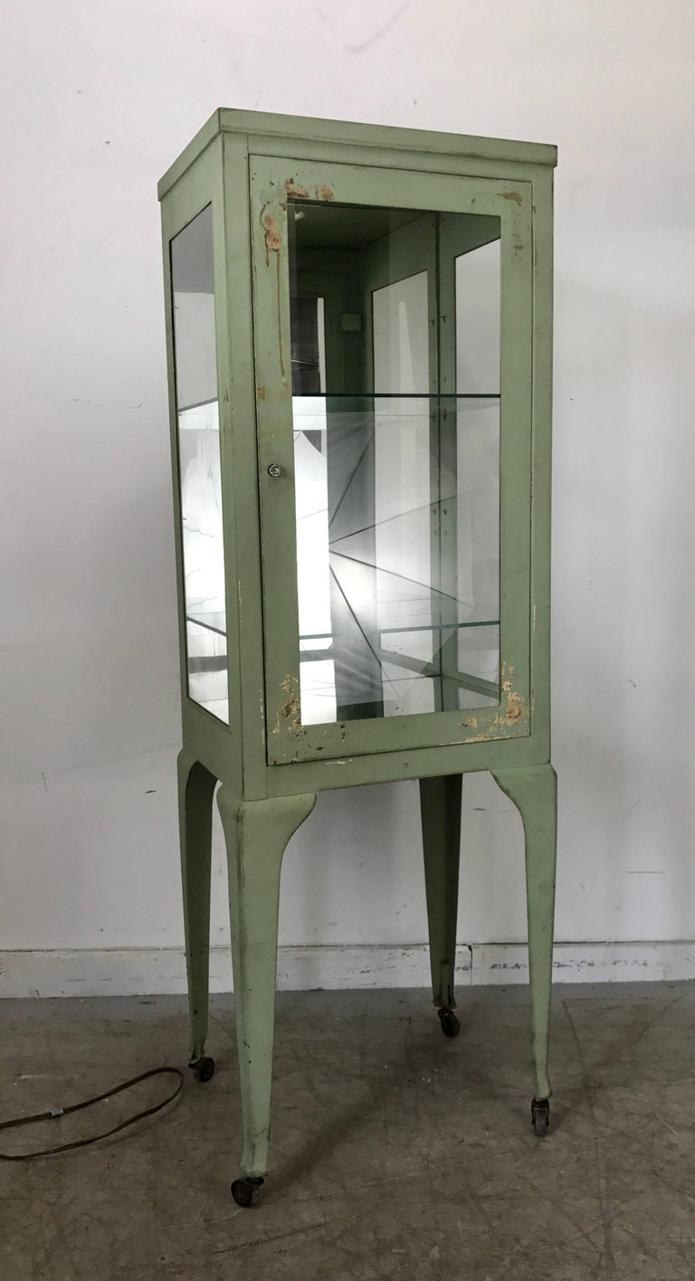 Classic 1920s Metal and Glass Specimen Cabinet, Medical, Industrial In Distressed Condition For Sale In Buffalo, NY