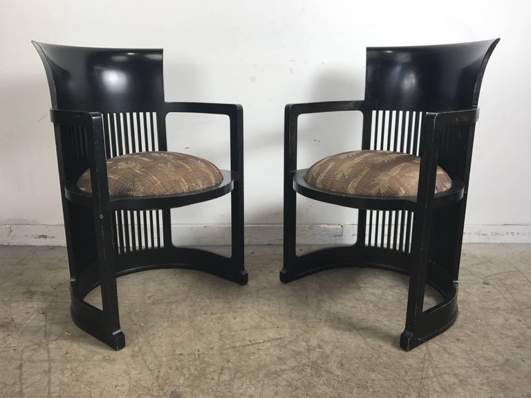 Arts and Crafts Pair of 606 Barrel Taliesin Chairs Frank Lloyd Wright for Cassina For Sale