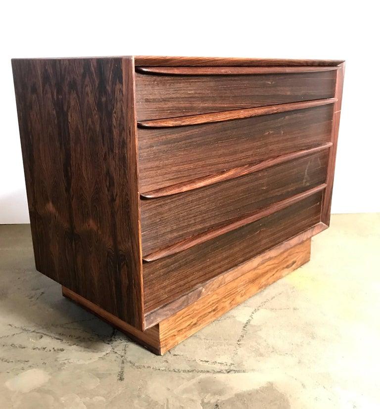 Scandinavian Modern Stunning Rosewood Falster Four-Drawer Chest Dresser Made in Denmark For Sale