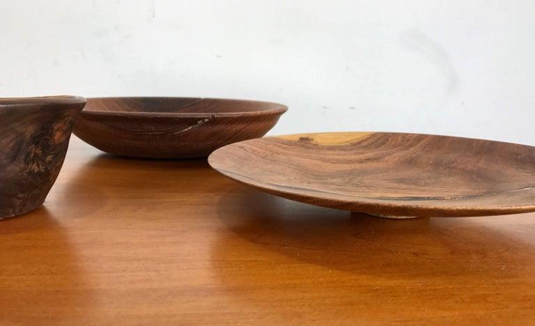 Six Handcrafted Burl Wood Bowls Sculptures American Craftsman