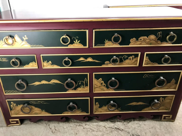 American Stunning Pair of 1940s Nine-Drawer Lacquered Chests, Japanese Motif, Widdicomb For Sale
