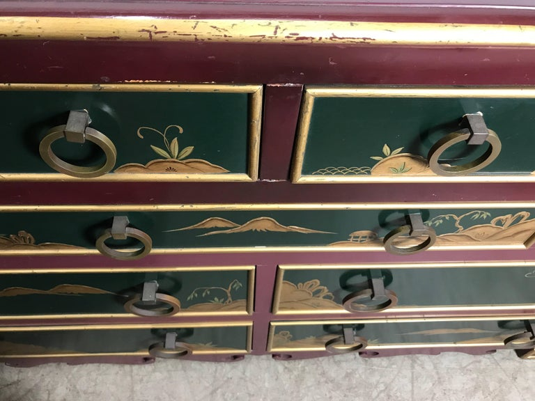 Mid-20th Century Stunning Pair of 1940s Nine-Drawer Lacquered Chests, Japanese Motif, Widdicomb For Sale