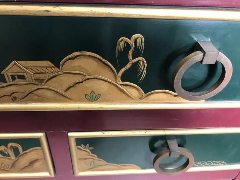 Brass Stunning Pair of 1940s Nine-Drawer Lacquered Chests, Japanese Motif, Widdicomb For Sale