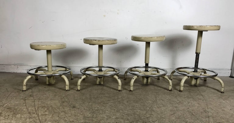 American Set of Four Industrial Adjustable Multi Position Metal Stools by Ajusto For Sale
