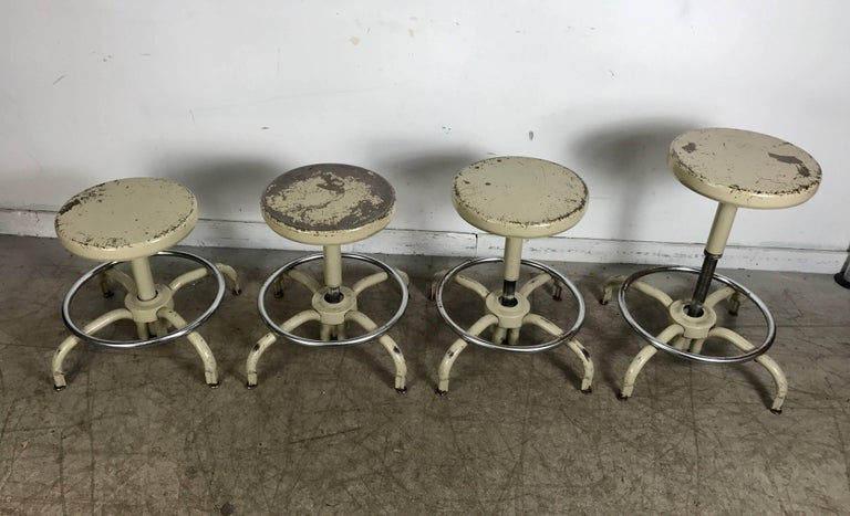 Painted Set of Four Industrial Adjustable Multi Position Metal Stools by Ajusto For Sale