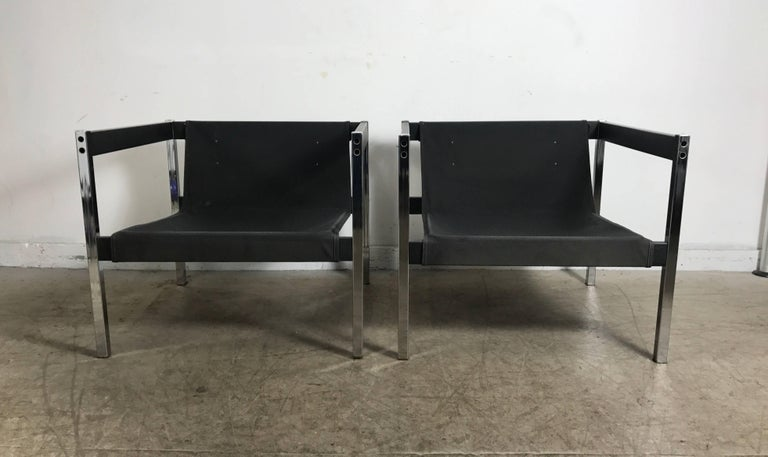 Classic 1970s Even Arm Chrome And Wood Sling Chairs In