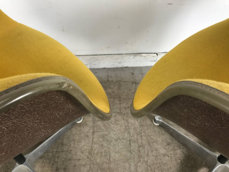 Pair of Charles and Ray Eames swivel padded arm shell chairs, unusual color combination, early brown exposed fiberglass shells. Mustard yellow fabric covers, gray piping, early four star aluminium base, retains original Herman Miller label.