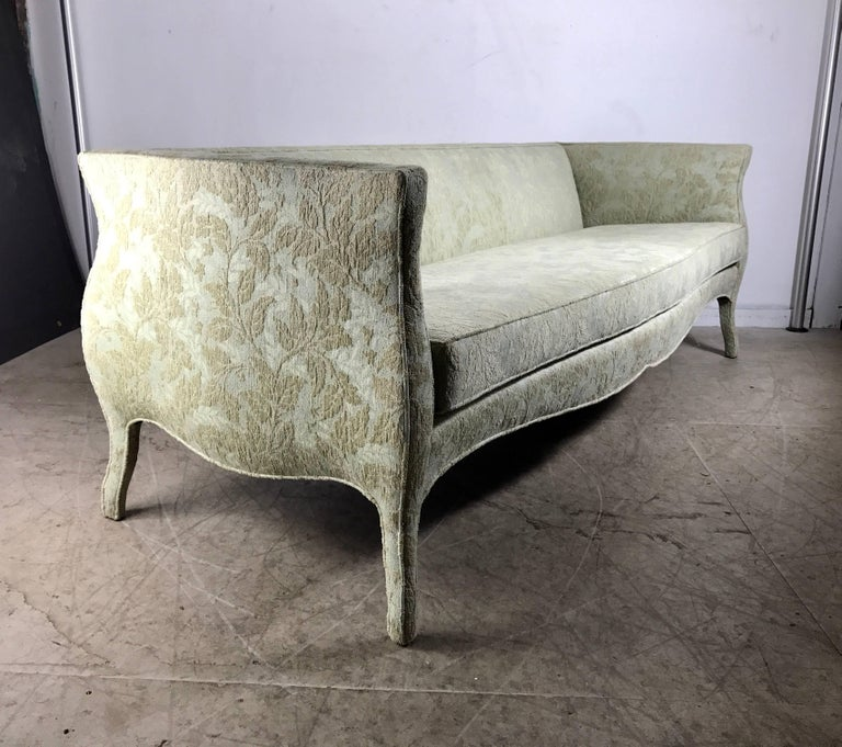 Unusual Furniture For Sale: Unusual Sofa, Bombay Shape, Upholstered Legs, Baker