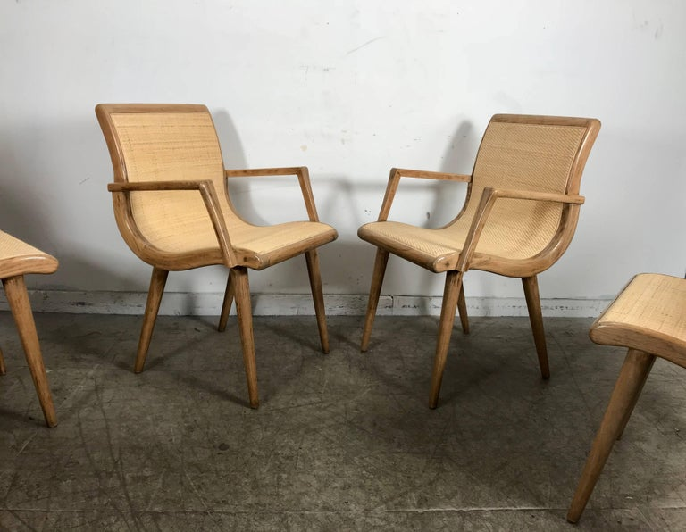 Set Of Six Midcentury Dining Chairs Cerused Oak And Cane