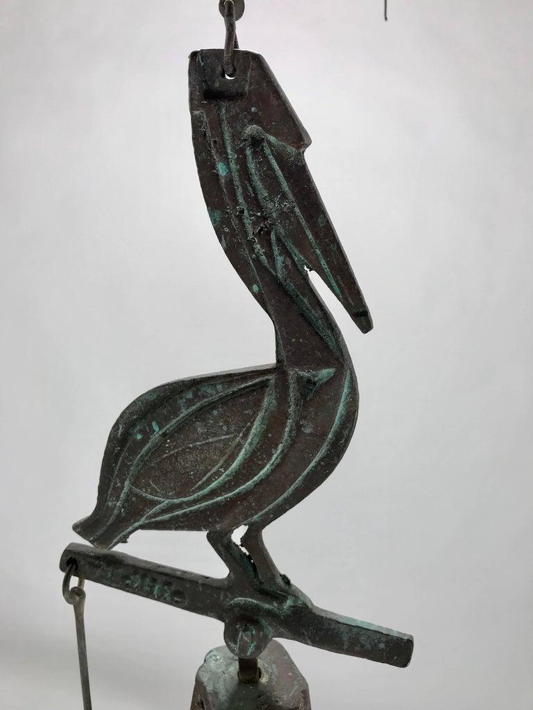 American Paolo Soleri Wildlife Pelican Cast Bronze Bell / Wind Chime Arcosanti For Sale