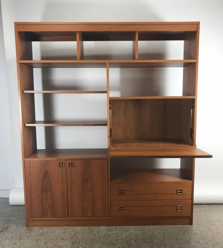 Classic Teak Wood Wall Unit Drop Down Desk Denmark For