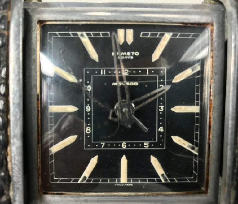 Movado Ermeto for Hermes Leather and Steel Travel Clock, Black Face In Good Condition For Sale In Buffalo, NY
