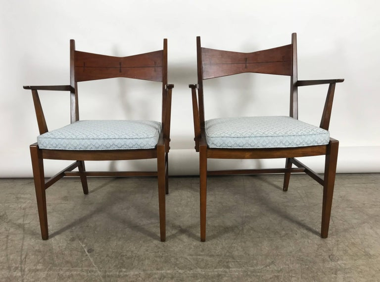 Astounding Set Of Six Mid Century Modern Dining Chairs Lane Tuxedo Bralicious Painted Fabric Chair Ideas Braliciousco