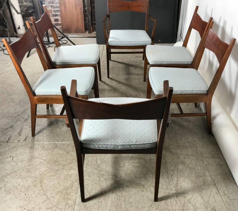 Outstanding Set Of Six Mid Century Modern Dining Chairs Lane Tuxedo Bralicious Painted Fabric Chair Ideas Braliciousco
