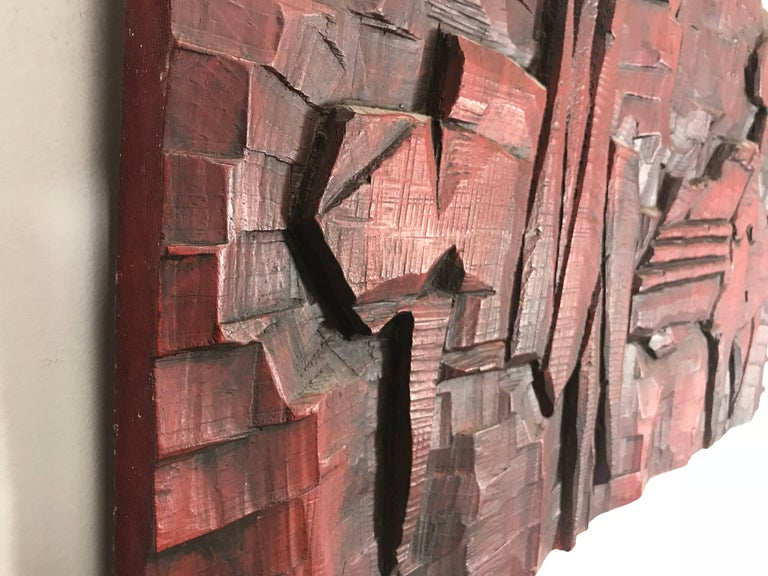 American Jean Claude Gaugy Modernist Abstract Wood Carving For Sale