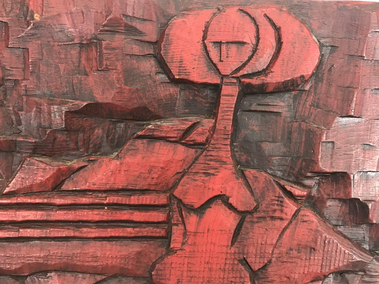 Jean Claude Gaugy Modernist Abstract Wood Carving..signed on reverse,,Amazing use of color, texture,dimention and space. French Artist Jean Claude GaugyThere is an underlying unity in the universe, Jean-Claude Gaugy believes. The constant quality