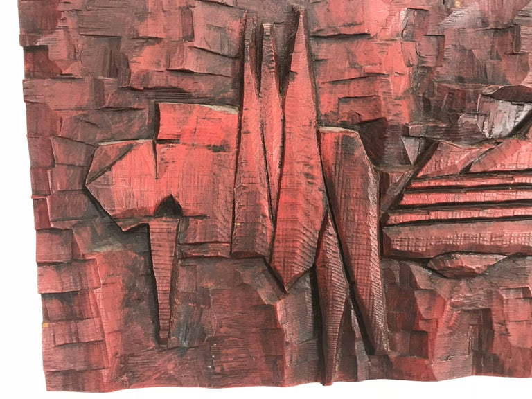 Mid-Century Modern Jean Claude Gaugy Modernist Abstract Wood Carving For Sale
