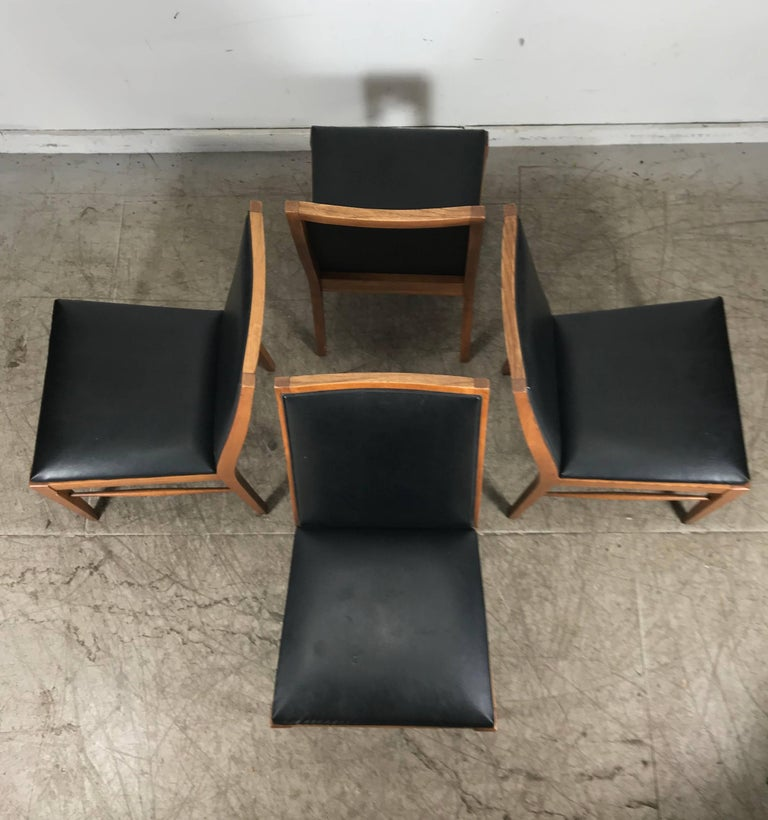 Naugahyde Set of Four Modernist Walnut Dining Chairs by Lane For Sale