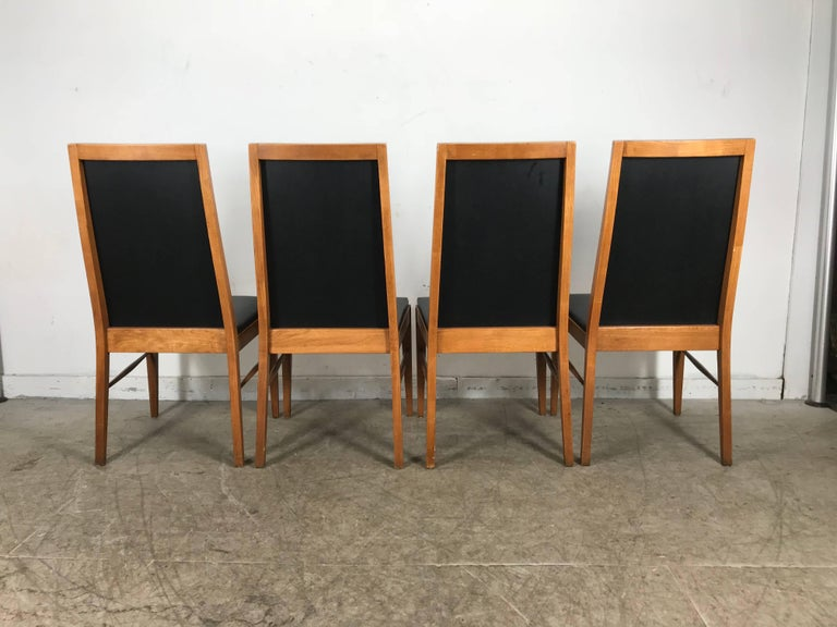 20th Century Set of Four Modernist Walnut Dining Chairs by Lane For Sale