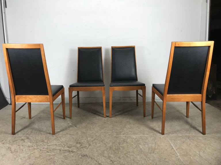 American Set of Four Modernist Walnut Dining Chairs by Lane For Sale