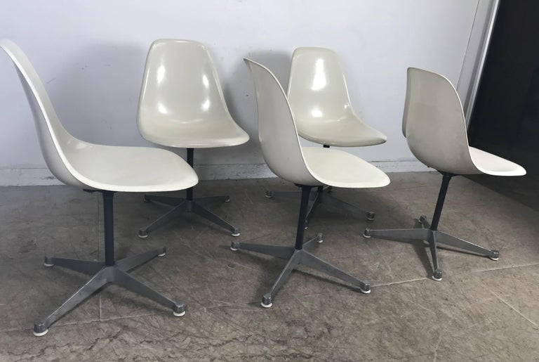 Mid-Century Modern Six Classic Fiberglass Swivel Side Shell Chairs Charles Eames, Herman Miller For Sale