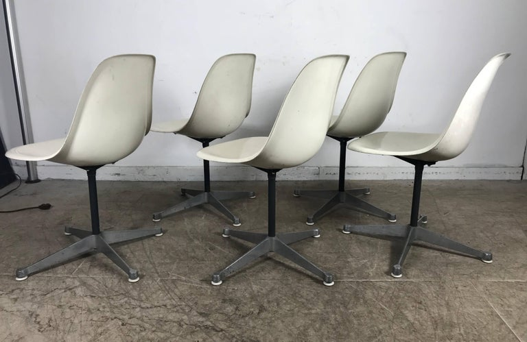 20th Century Six Classic Fiberglass Swivel Side Shell Chairs Charles Eames, Herman Miller For Sale
