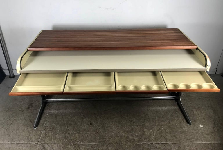 Early Modernist George Nelson Tambour Roll Top Desk 1964