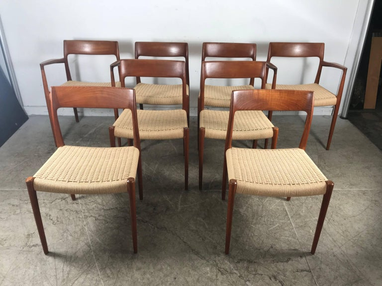 Classic set of eight teak and rope dining chairs by j l - Dining room furniture buffalo ny ...