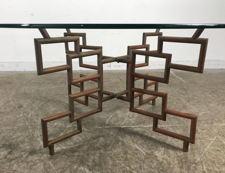 Unusual Welded Copper Coffee Or Tray Table Base Asian Art Deco - Welded table base
