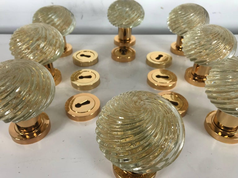 Set of Eight Murano Glass Door Knobs, Made in Italy by Barovier and ...